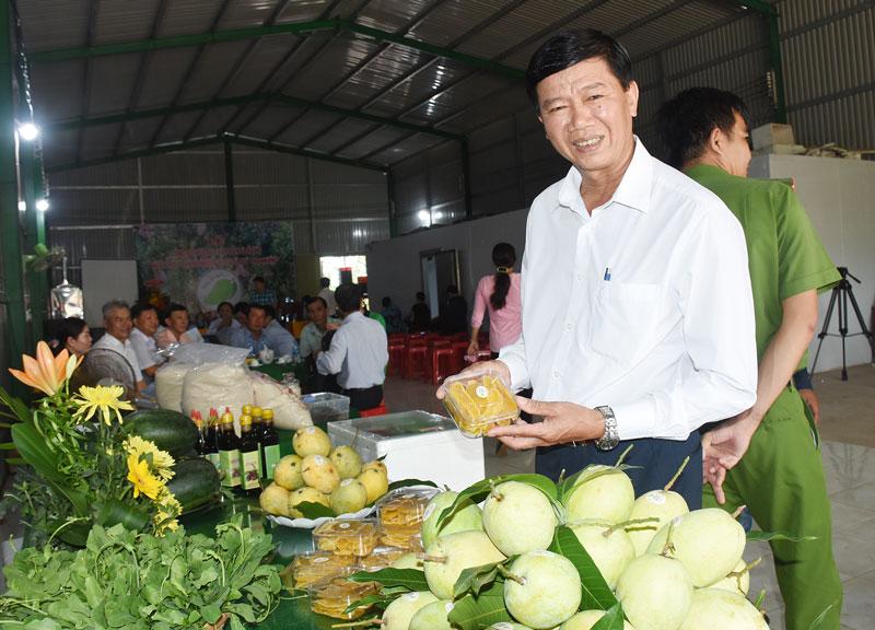 Phó chủ tịch UBND huyện Nguyễn Ngọc Tân tại HTX dịch vụ sản xuất nông nghiệp Thạnh Phong.