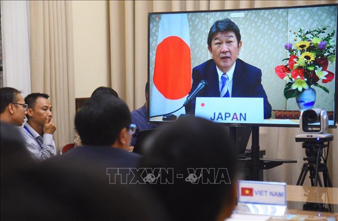 Bộ trưởng Ngoại giao Nhật Bản Toshimitsu Motegi phát biểu tại Hội nghị trực tuyến Bộ trưởng Mê Công - Nhật Bản lần thứ 13. Ảnh: Diễm Quỳnh/TTXVN phát