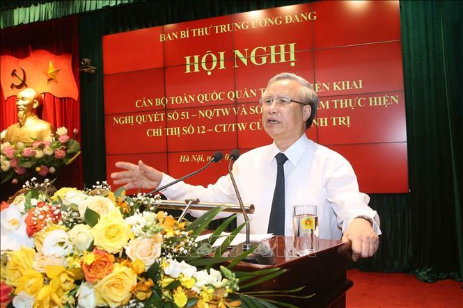 Đồng chí Trần Quốc Vượng, Ủy viên Bộ Chính trị, Thường trực Ban Bí thư Trung ương Đảng phát biểu. Ảnh: Doãn Tấn/TTXVN
