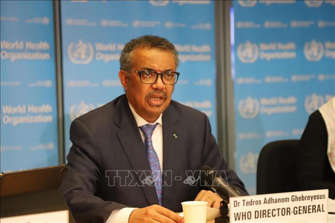 Tổng giám đốc WHO Tedros Adhanom Ghebreyesus trong cuộc họp báo về dịch COVID-19 tại Geneva, Thụy Sĩ ngày 18/2. Ảnh: THX/TTXVN