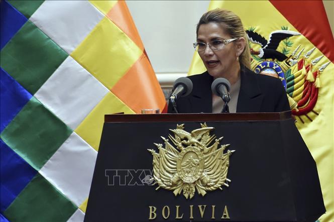 Tổng thống lâm thời Bolivia Jeanine Anez phát biểu tại một sự kiện ở La Paz ngày 28/1. Ảnh: AFP/TTXVN