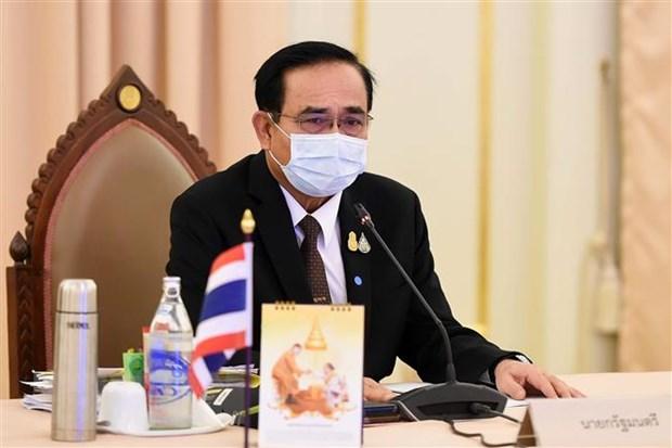 Thủ tướng Thái Lan Prayut Chan-o-cha phát biểu trong cuộc họp nội các tại Bangkok ngày 3-4-2020. (Nguồn: AFP/TTXVN)