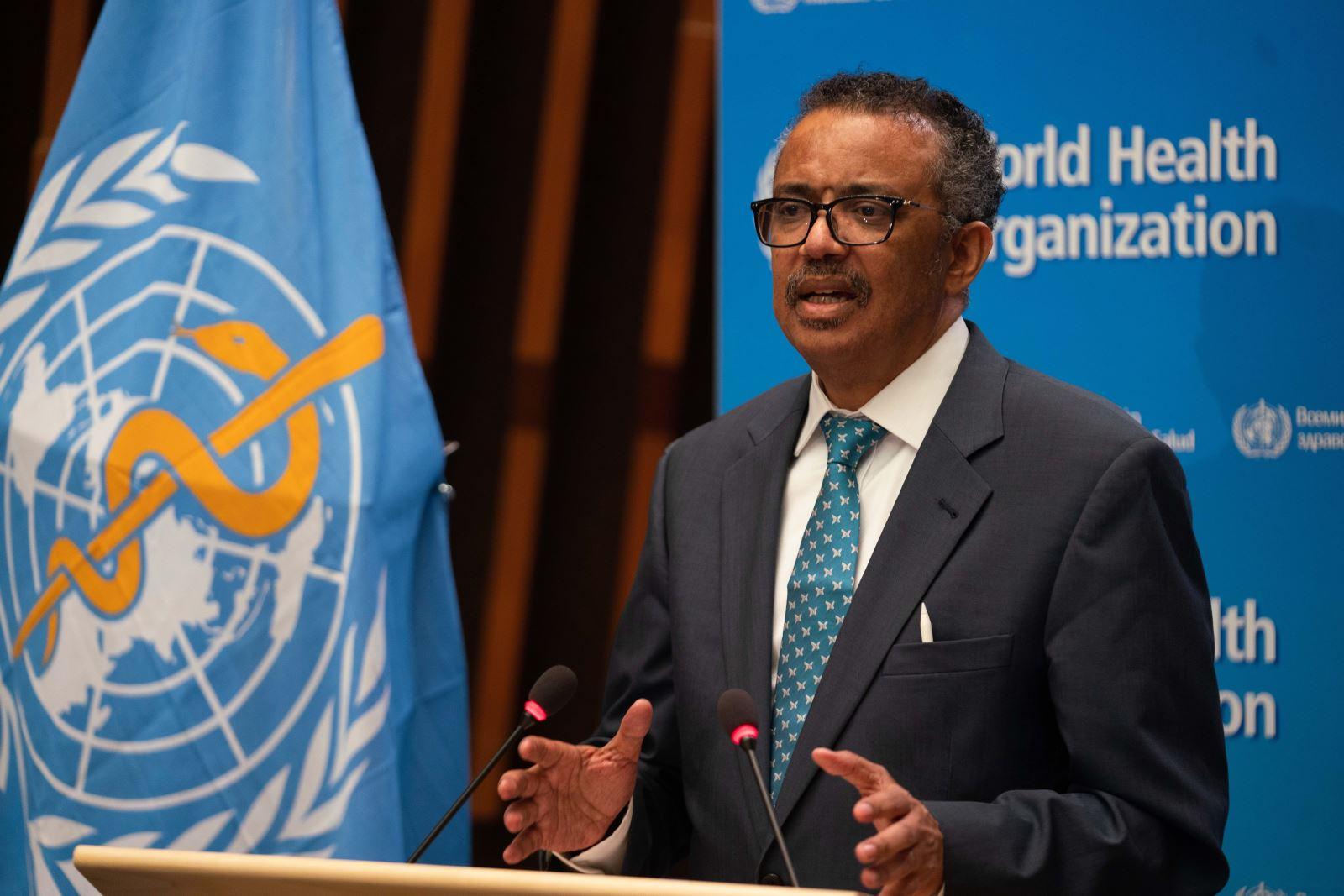 Tổng Giám đốc WHO Tedros Adhanom Ghebreyesus phát biểu tại một hội nghị ở Geneva, Thụy Sĩ ngày 18-5-2020. Ảnh: THX/TTXVN