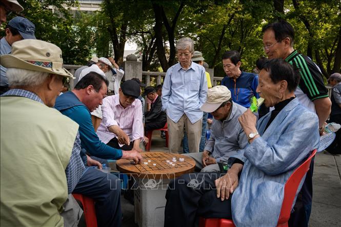 Người cao tuổi trên đường phố tại Seoul, Hàn Quốc. Ảnh: AFP/TTXVN