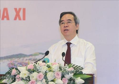 Trưởng Ban Kinh tế Trung ương Nguyễn Văn Bình phát biểu tại Hội nghị - Ảnh: TTXVN