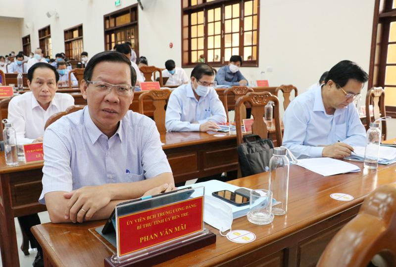 Bí thư Tỉnh ủy Phan Văn Mãi tham dự buổi làm việc của Thủ tướng Chính phủ với lãnh đạo các tỉnh, thành phố vùng ĐBSCL. Ảnh: Quốc Thái
