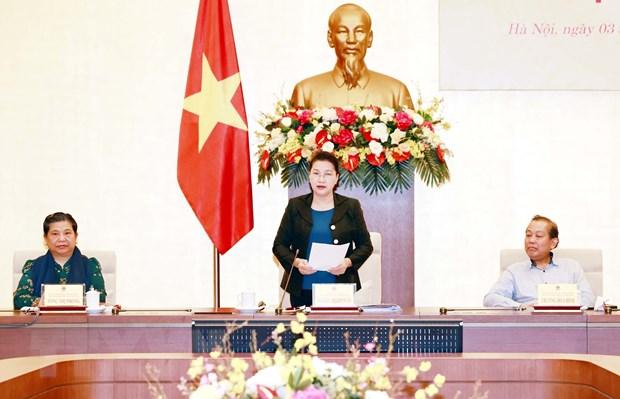 Chủ tịch Quốc hội Nguyễn Thị Kim Ngân, Chủ tịch Hội đồng bầu cử Quốc gia phát biểu khai mạc phiên họp. Ảnh: Trọng Đức/TTXVN