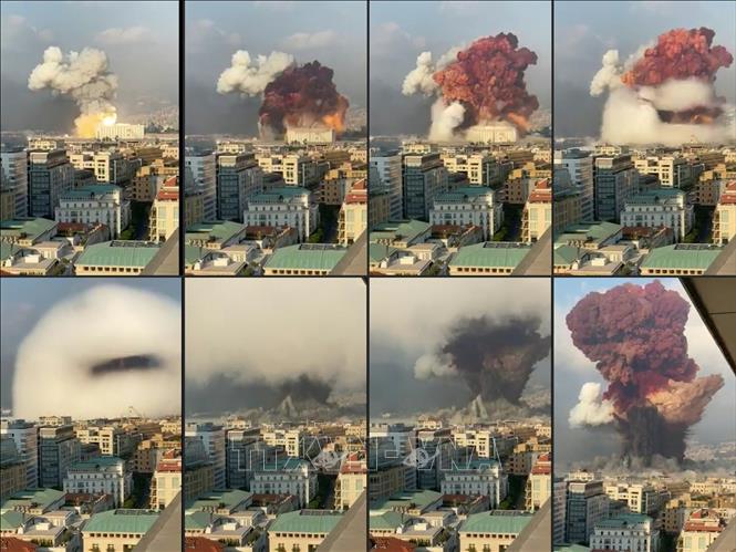 Hình ảnh về vụ nổ kinh hoàng ở Beirut, Liban, ngày 4-8-2020. Ảnh: AFP/TTXVN