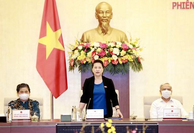Chủ tịch Quốc hội Nguyễn Thị Kim Ngân chủ trì và phát biểu bế mạc Phiên họp thứ 47 của Ủy ban Thường vụ Quốc hội. Ảnh: Trọng Đức/TTXVN