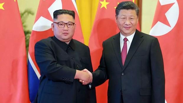 Nhà lãnh đạo Triều Tiên Kim Jong-un và Chủ tịch Trung Quốc Tập Cận Bình. (Nguồn: AFP)