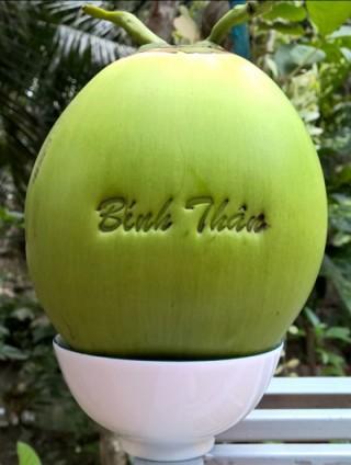 Độc đáo dừa ép khuôn, in chữ nghệ thuật