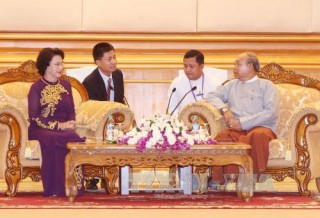 Chủ tịch Quốc hội Nguyễn Thị Kim Ngân hội kiến Chủ tịch Quốc hội Myanmar