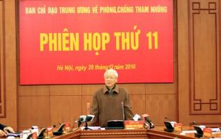Tổng Bí thư Nguyễn Phú Trọng chủ trì phiên họp thứ 11 Ban Chỉ đạo Trung ương về phòng, chống tham nhũng