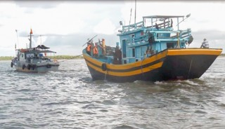Bắt 4 phương tiện khai thác thủy sản sai tuyến