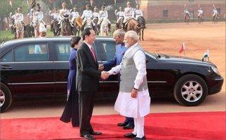 Chủ tịch nước Trần Đại Quang hội kiến với Tổng thống Ấn Độ