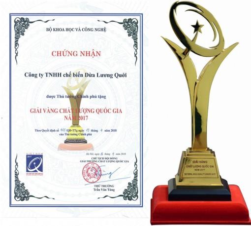 Công ty TNHH Chế biến Dừa Lương Quới: Đạt giải vàng Giải thưởng Chất lượng quốc gia 2017