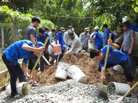 Đoàn Khối các Cơ quan tỉnh hỗ trợ nhân dân bê-tông đường nông thôn