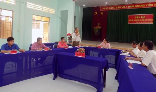 Diễn tập chiến đấu phòng thủ theo phương án A2 xã Lương Quới