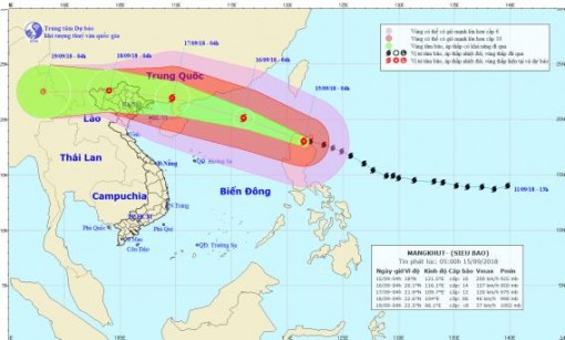 Trưa và chiều nay siêu bão Mangkhut sẽ đi vào khu vực Đông Bắc của Biển Đông