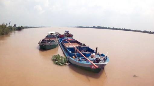 Bắt quả tang 4 đối tượng khai thác cát trái phép trên sông Cổ Chiên