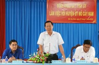 Đoàn khảo sát của Tỉnh ủy làm việc tại Thạnh Phú và Mỏ Cày Nam