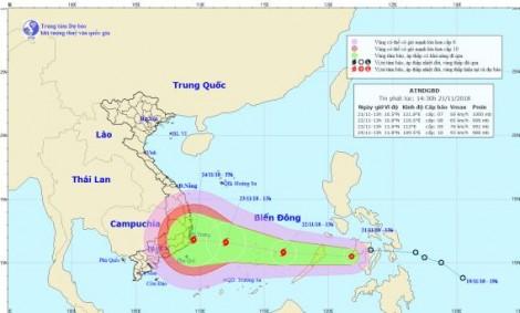 Áp thấp nhiệt đới đi vào Biển Đông