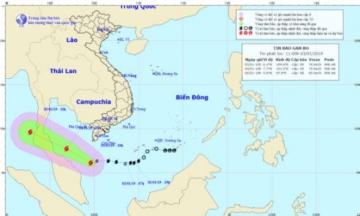 Bão số 1 có gió giật cấp 11, cách mũi Cà Mau 240km