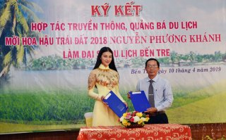 Hoa hậu Trái đất Nguyễn Phương Khánh làm Đại sứ du lịch tỉnh Bến Tre