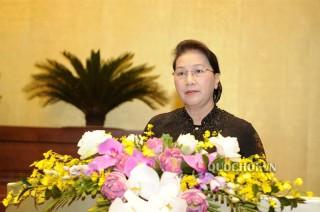Chủ tịch Quốc hội Nguyễn Thị Kim Ngân phát biểu bế mạc kỳ họp thứ 7 Quốc hội khóa XIV