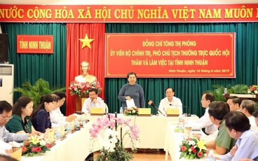 Phó chủ tịch Quốc hội Tòng Thị Phóng làm việc tại Ninh Thuận