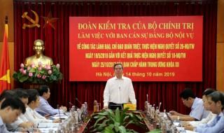 Đoàn Kiểm tra của Bộ Chính trị làm việc với Ban Cán sự đảng Bộ Nội vụ