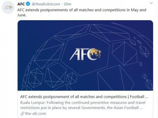 AFC tiếp tục hoãn vô thời hạn tất cả các trận đấu