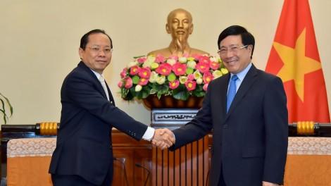 Phó Thủ tướng, Bộ trưởng Ngoại giao tiếp Đại sứ Vương Quốc Campuchia